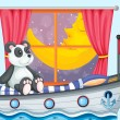A panda sitting above the boat beside a window - Векторная иллюстрация