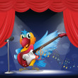 A parrot with a guitar at the stage — Stock Vector