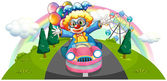 A clown riding in a pink car with balloons — Stock Vector