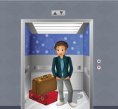 A boy with two travelling bags inside the elevator — Stock Vector