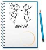 A notebook with a sketch of a girl and a boy dancing — Stock Vector