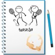 A notebook with a sketch of a boy and a girl playing tennis — Stock Vector #23451626