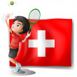 A tennis player in front of the Switzerland flag — Stok Vektör