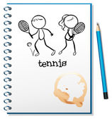 A notebook with a sketch of a boy and a girl playing tennis — Stock Vector