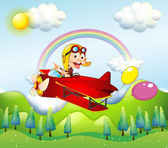 A monkey riding on a red plane with two balloons — Stock Vector