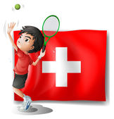 A tennis player in front of the Switzerland flag — Stock Vector