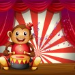 A monkey playing with a musical instrument at the stage - Stock Vector