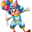 A clown holding balloons - Stockvectorbeeld
