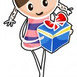 A girl holding a blue gift box - Stock Vector