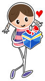 A girl holding a blue gift box — Stock Vector