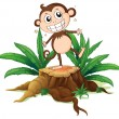 A monkey standing above a trunk — Stock Vector