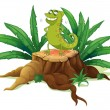 A green iguana above a trunk — Stock Vector #23772813