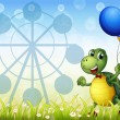 A turtle with two balloons at the carnival - Stockvectorbeeld