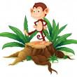 A monkey above a trunk — Stock Vector
