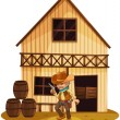 A man holding a gun in front of a wooden house - Stock Vector