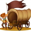 A gunman with a wagon — Stock Vector