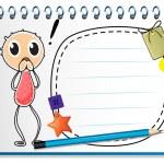 un cuaderno con una imagen de un joven — Vector de stock
