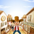 A gunman at the village - Stock Vector