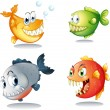 Stock Vector: Four different kinds of fishes with big fangs