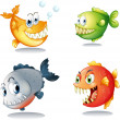 Four different kinds of fishes with big fangs — Stock Vector