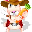 A rabbit holding a carrot with a hat and a cigarette — Imagen vectorial