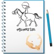 A notebook with a drawing of a girl riding a horse — Stock Vector