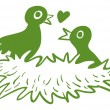 Two love birds in their nest — Imagens vectoriais em stock