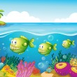 Stock Vector: Three green piranhas under the sea