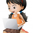 A girl with a laptop — Stock Vector
