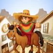 A young man with his horse strolling at the village — Stock Vector