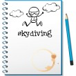 A notebook with an image of a person skydiving - Stock Vector