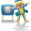A clown beside a blue television — Stock Vector