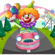 A happy clown riding in a pink car - Stock Vector