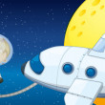 A young boy exploring the space — Stock Vector