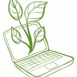 A green laptop with an image of a green plant — Stock Vector