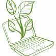 Stock Vector: A green laptop with an image of a green plant