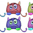 Six different monsters - Stock Vector