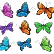 Royalty-Free Stock ベクターイメージ: Nine colorful butterflies
