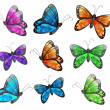 Nine colorful butterflies - Stock Vector