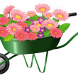 A construction cart with lots of flowers — Stock Vector