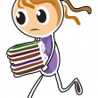 A girl running while holding books — Stock Vector