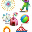 A clown with the different things in a carnival - Stock Vector