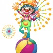 A female clown above the colorful ball - Stock Vector