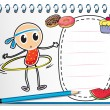 A notebook with a sketch of a young child with a hula hoop - Stock Vector