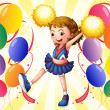 A cheerleader dancing in the middle of the balloons - Stock Vector