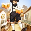 Royalty-Free Stock Vektorový obrázek: A waiter with glasses of cold beers