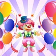 A clown juggling in the middle of the balloons — ベクター素材ストック