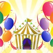 Balloons with a circus tent at the center - Stock Vector