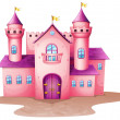 A pink colored castle — Stock Vector