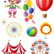 Clown playing balls with different circus stuffs — Stock Vector #23773709